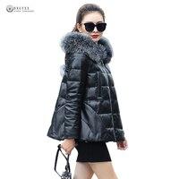 2017New Women Genuine Leather Coat Sheepskin White Duck Down Outerwear Fox Fur Overcoat Hooded Real Leather Jacket Female OK1098
