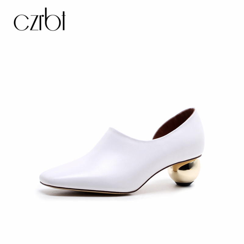 CZRBT Genuine Leather Women Pumps Spring Summer Shoes Fashion Strange Style High Heels Pointed Toe Shallow Mouth Pumps For Women top sale spring women fashion pumps high heels shallow mouth fine with floral elegant pointed toe ol shoes work wear comfortable