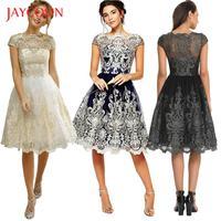 Jaycosin اللباس الاتجاه المرأة السهرة حزب مثير أزياء النساء الدانتيل والتطريز prom رسمي العباءات الكرة ثوب العروسة JAN16