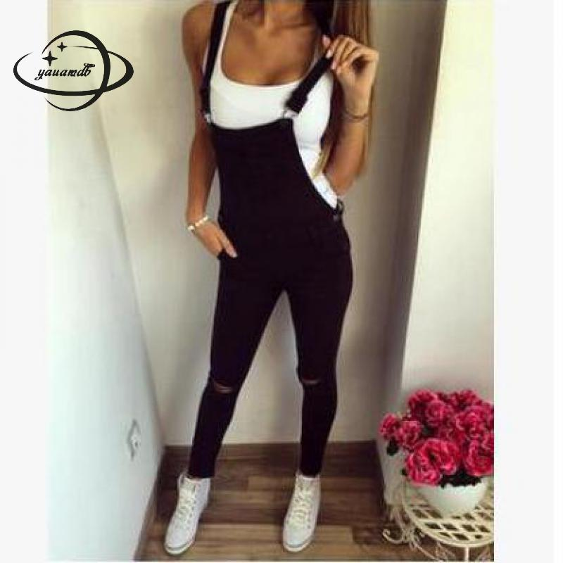919300d45abf YAUAMDB women jumpsuit 2017 autumn winter size S-2XL female pocket rompers  ladies overalls trousers casual hole pencil pant y76