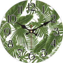 WONZOM Green Leaves Non-Ticking Wooden Cardboard Wall Clock for Home Kitchen Office,Silent Sweep Wall Clock for Decorative original xiaomi mijia mute movement round wooden wall clock non ticking simple style home kitchen office decoracion wall clock