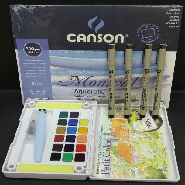 Livraison gratuite Sakura solide 30/24/18 couleurs aquarelle + Sakura 4 stylos + Canson Montval aquarelle livre professionnel costume débutants