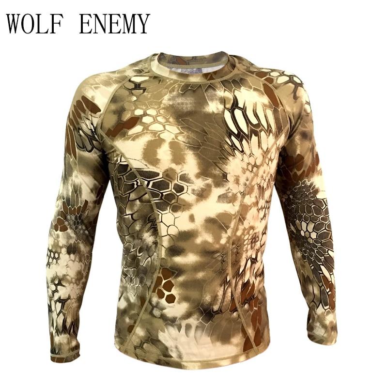 Криптек плотной компрессионной армейской футболки Typhon с длинным рукавом тактическая рубашка Breathable