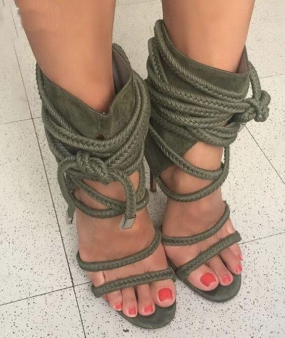 Drop Shipping Summer Women Army Green/Black/Beige Cross Lace Up Ropes Party Stiletto Heel Cover Heel High Heel Sandals Shoes 2017 fashion stiletto heel sandal army green cross weaving sandals wedding party dress shoes women wholesale drop shipping