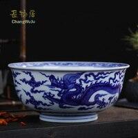 Changwuju в Цзиндэчжэнь Керамика Чаши снэк чаша экологичный Большие размеры ручной синий и белый цвет морской волны лапши миске