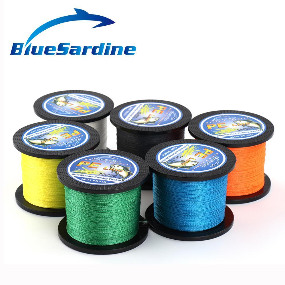 BlueSardine 500M 땋은 낚싯줄 Multifilament PE 4 끈으로 묶은 - 어업