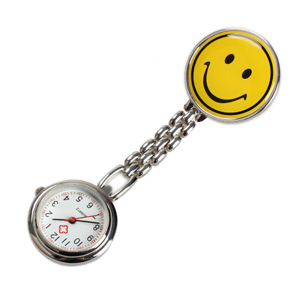 Yellow Smile Face Nurse Table Pocket Watch with Clip Brooch Chain Quartz Watch F
