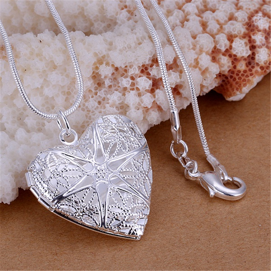 new free shipping silver plated for women necklace jewelry silver jewelry fashion cute Heart pendant snake