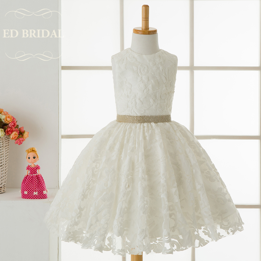 Lace Flower Girl Dresses with Beaded Waistband First Communion ...