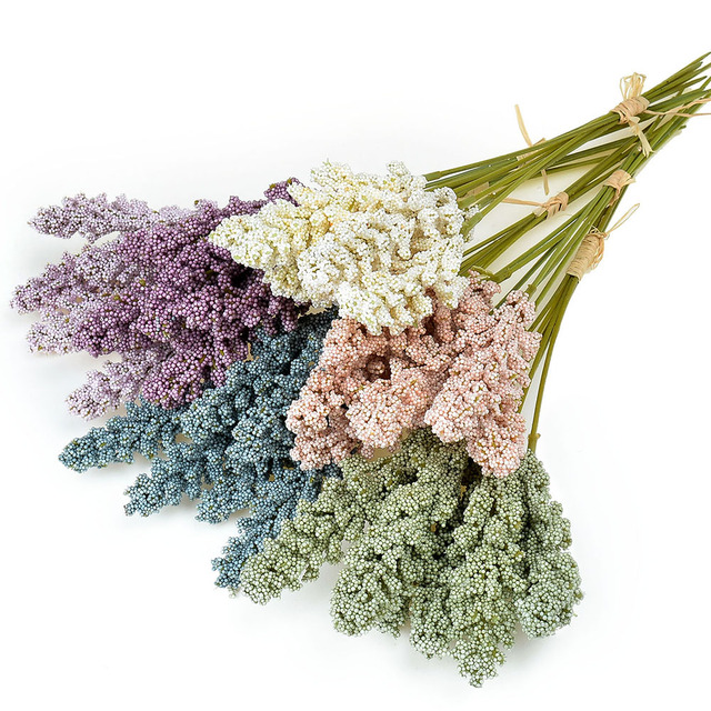 6Pcs/lot Vanilla Foam Berry Spike Artificial Flowers Bouquet for Wedding Home Wall Decorations Cereals DIY Craft Fake Flowers