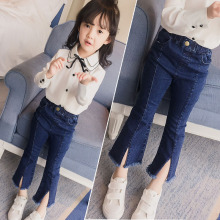 Джинсы для мальчиков и девочек г. Новые весенние джинсы с эластичной резинкой на талии для девочек и мальчиков, Повседневные детские синие штаны, брюки Одежда для детей J105
