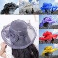 A002 Alta Rayon Floppy Sombrero de Sun Del Verano Sombreros Para Las Mujeres Amplia ala Tapa Sombrero Del Organza Wedding Party Iglesia Kentucky Derby Sombrero de Flores