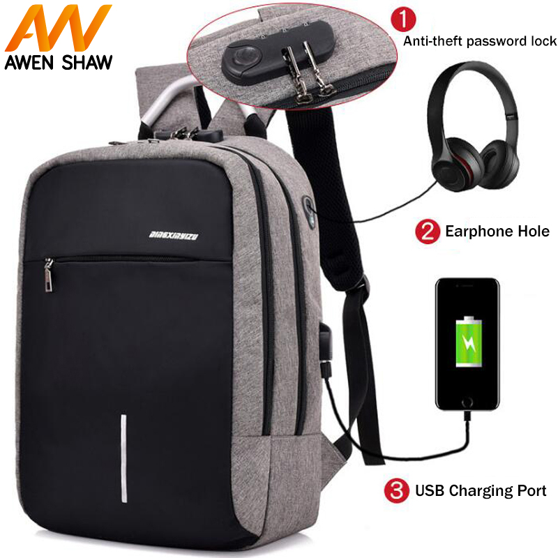 AWEN SHAW New Fashion Password Lock Reflective Strip Design Bag For Man With USB Charging Headphone Hole School Laptop Backpack