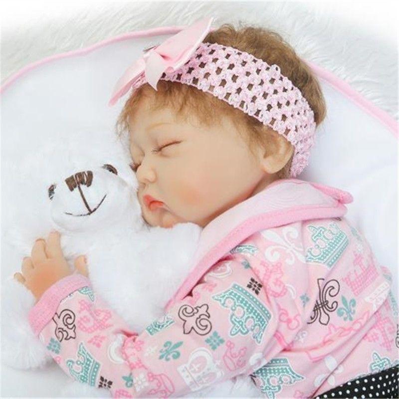 22 ''fait à la main Reborn bébé réaliste fille vinyle Silicone poupée réaliste enfants cadeau bambin garçon jouets