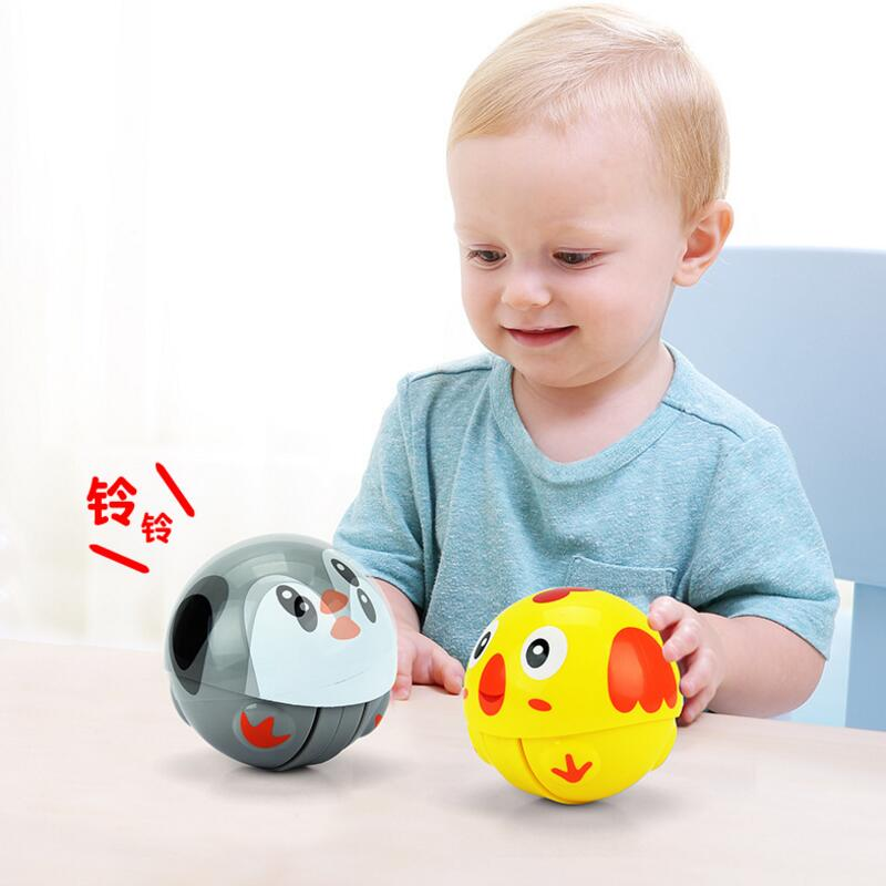 7cm Mini Animal Running Ball Tumbler Toy For Baby Rattle With Sound Educational Funny Run Tumble Toys For Child Gift