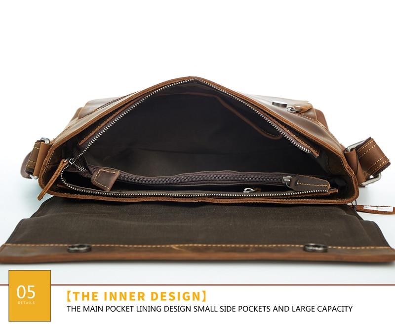 JOYIR Retro Genuine Leather Men Shoulder Bags Leather Men Briefcase Laptop Brand Crossbody Bag Business Messenger Bag