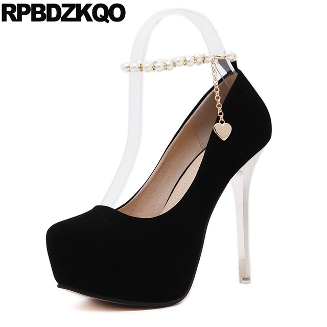 983343e9091f Stripper Ultra Extreme High Heels Platform Super Round Toe Black Metal  Pearl Ankle Strap Stiletto Women