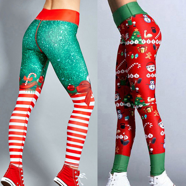 bc3063b760a7ec Hot Women Christmas Style Pants High Elastic Fitness Leggings Slim Fit  Print Running Sportswear Quick Drying Training Trousers