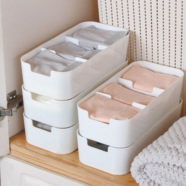 3 and 5 Cells Plastic Organizer Storage Box Tie Bra Socks Drawer Cosmetic Divider make up storage organizer plastic box home