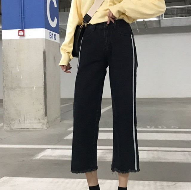 Spring Autumn Elastic High Waist Ankle-length Women Jeans Brushed Boyfriend Wide Leg Side White Stripes Ladies Denim Pants