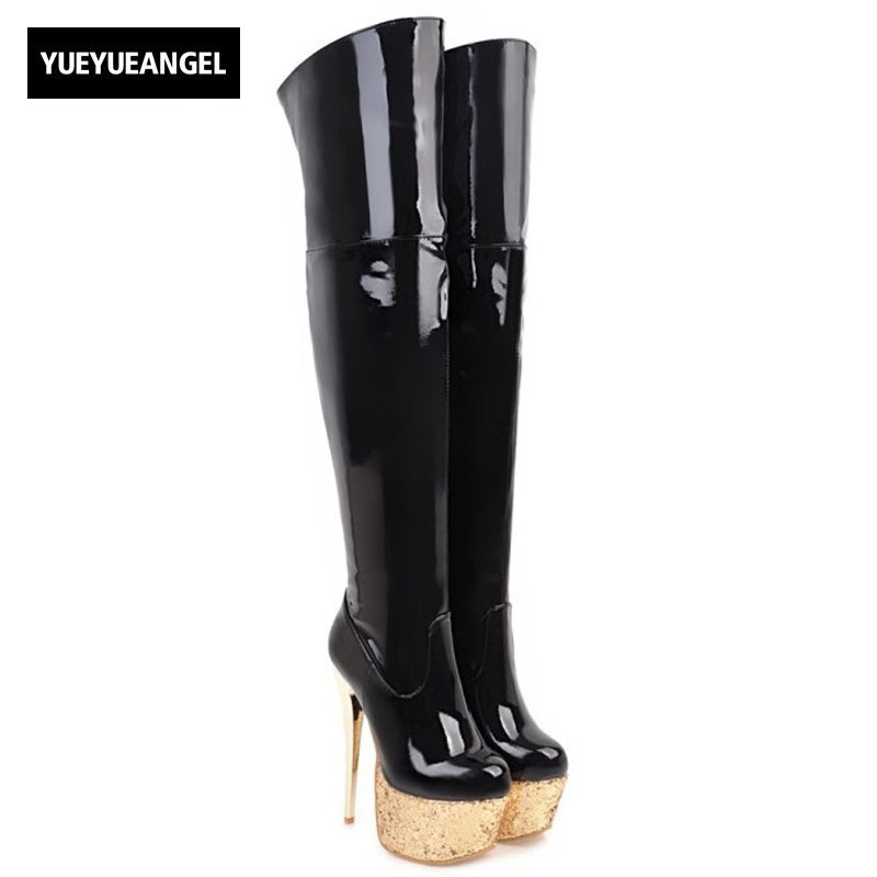 2018 New Hot Sale Women Sexy Nightclub High Heel Shoes Red For Women Over The Knee Boots Pointed Toe Patent Leather Plus Size new fashion women shoes pointed toe patent leather lady high heel boots for women sexy over the knee boots nightclub pumps