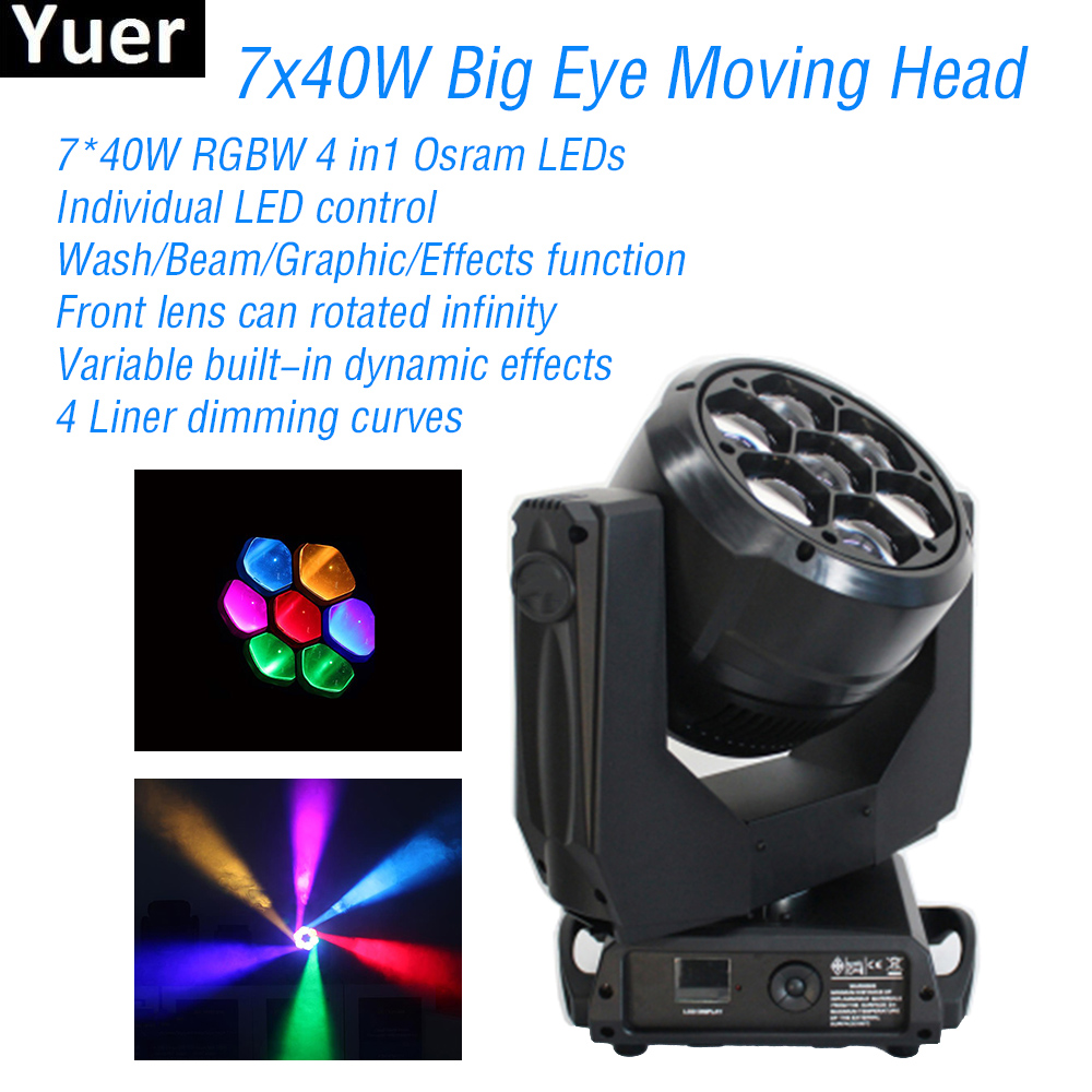 7x40W Big Eye Moving Head Light LED RGBW DMX512 Spot Control Rotated Infinity DJ Disco Party Lights Wash Stage Moving Head Light in Stage Lighting Effect from Lights Lighting