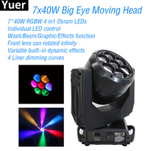 цена 7x40W Big Eye Moving Head Light LED RGBW DMX512 Spot Control Rotated Infinity DJ Disco Party Lights Wash Stage Moving Head Light онлайн в 2017 году