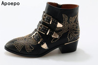2017 New Leather Rivets Booties Buckle Straps Thick Heel Black Ankle Boots Studded Decorated Motorcycle Boots