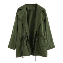 5e20b79c4b1fe Kışlık ceketler ve mont 2018 Sonbahar kadın ceket rahat askeri zeytin yeşil  bombacı ceket kadın temel ceketler artı boyutu