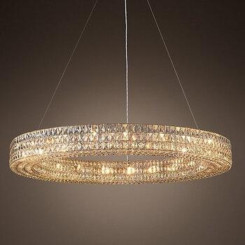Led e14 Vintage Amerikanische Edelstahl Kristall Ring LED Licht. anhänger Lichter. anhänger Lampe. anhänger licht Für Esszimmer Foyer