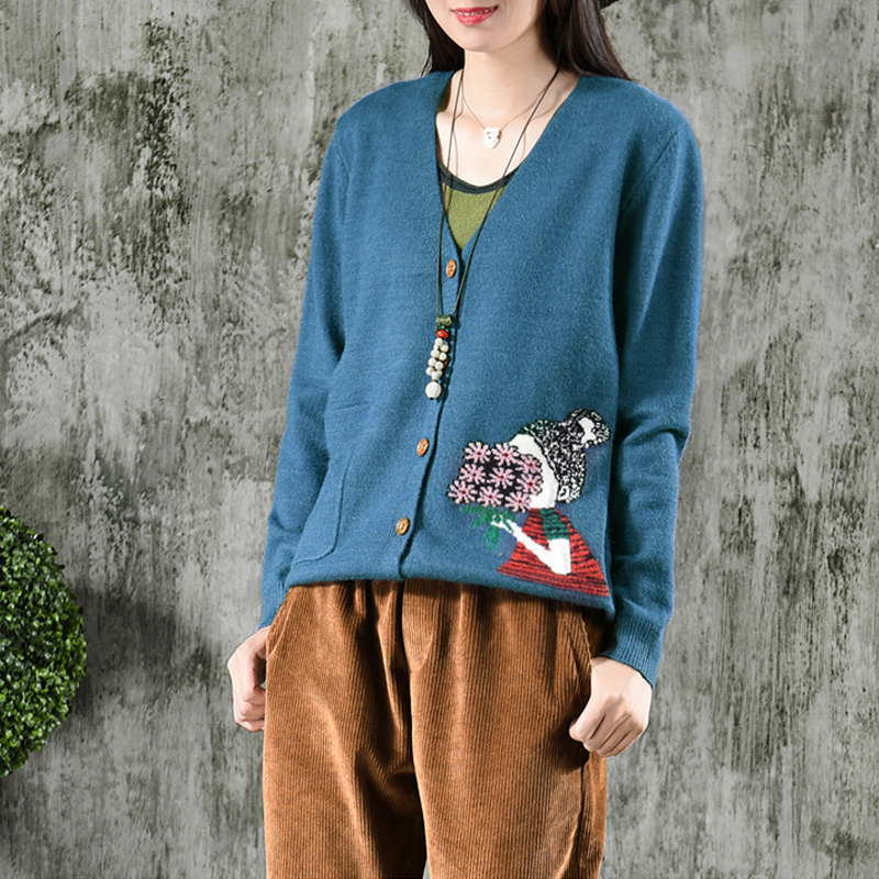 Johnature Women Knitted Cotton Sweater Sweet Cardigan Pockets V Neck Long Sleeve Autumn Sweater 2018 New 5 Color Women Sweaters