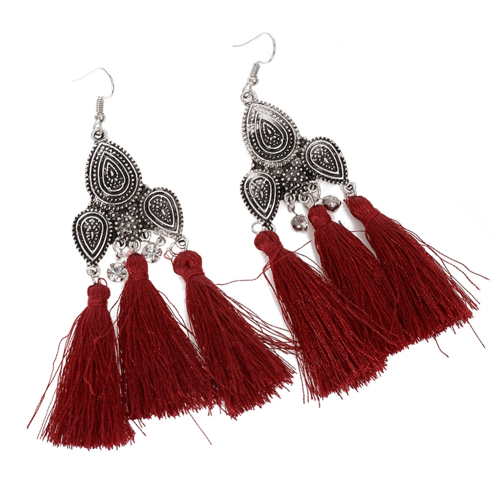 Ethnic Style Tassel Earrings Exaggerated Tibetan Silver Long Dangle Earrings For Women Fringed Jewelry Gifts