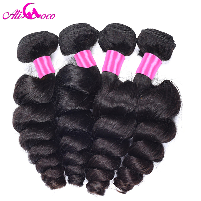 Ali Coco cabello peruano de la onda suelta de Cabello 100% cabello humano de la armadura del pelo paquetes 4 unids/lote no Remy pelo Natural negro puede ser teñido