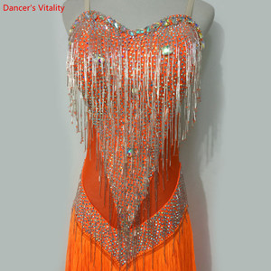 Image 4 - Custom made Latin Dance Dress Women Girls Rumba Samba Cha cha Salsa Ballroom Competition Costume Clothing Diamond Dance Dress