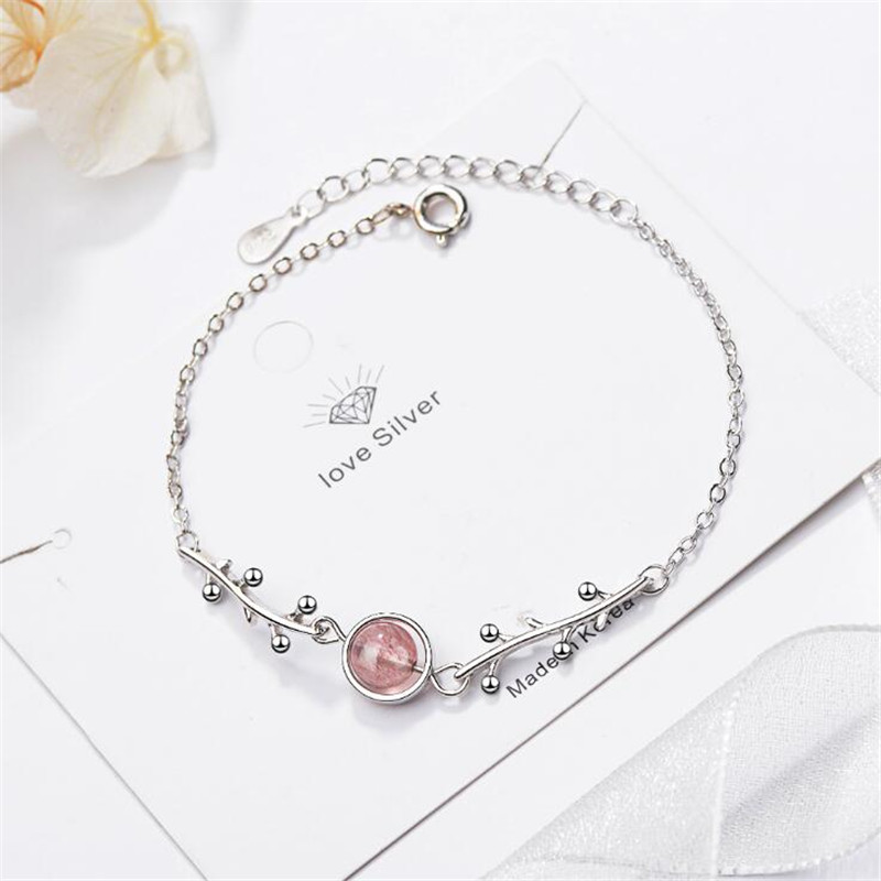 New Creative Transfer Beads Natural Strawberry Crystal 925 Sterling Silver Jewelry Branches Fresh Plant Women Bracelets SB169