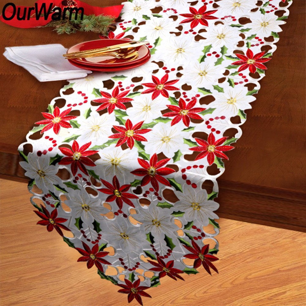 OurWarm 38X176cm Christmas Table Runner Cutwork Floral Embroidered Table Runner New Year Present Christmas Decoration For Home
