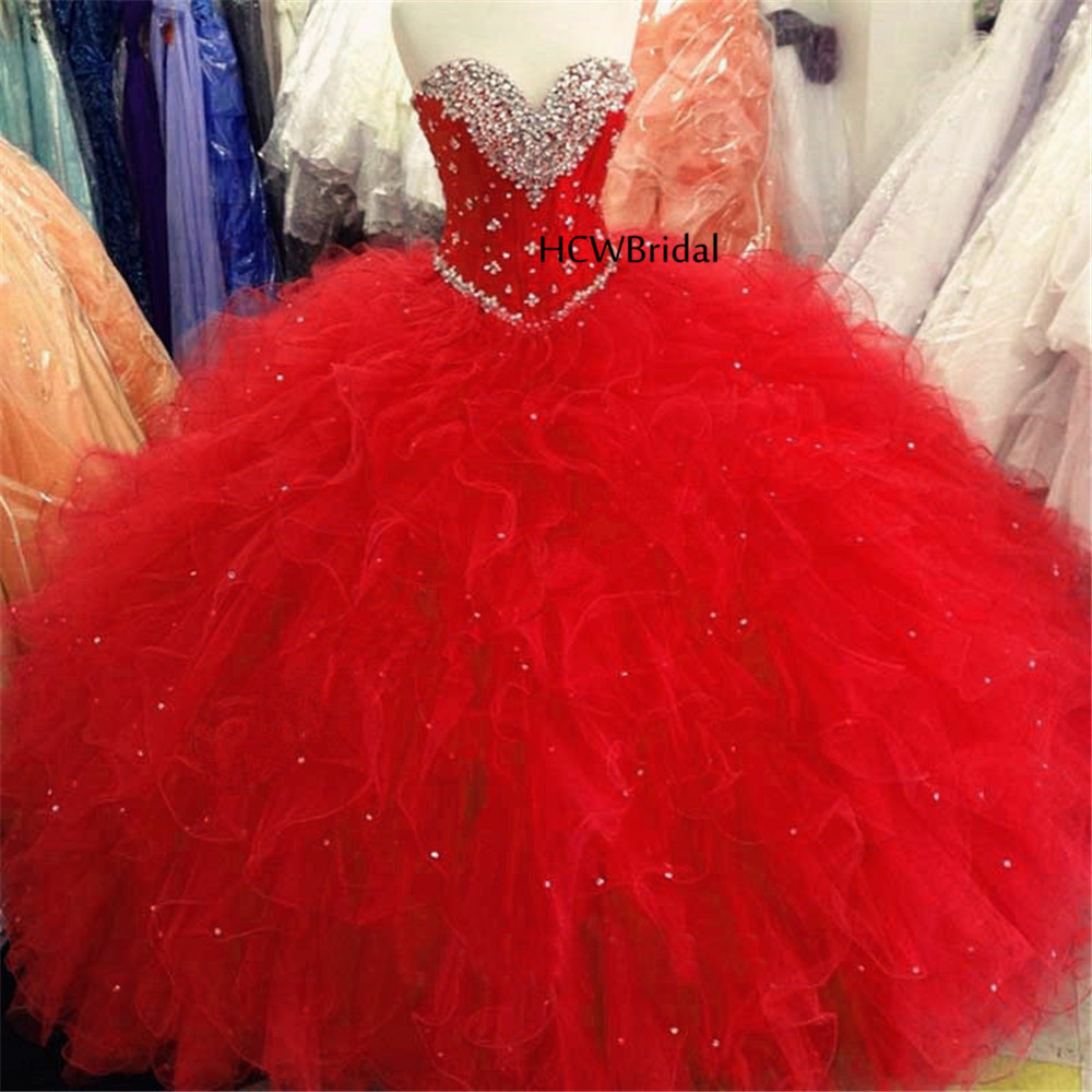 Watermelon Red Quinceanera Dress New Design Sweetheart Beaded Embroidery Ruffles Organza Girl Gala Party Dresses Custom Made Quinceanera Dresses