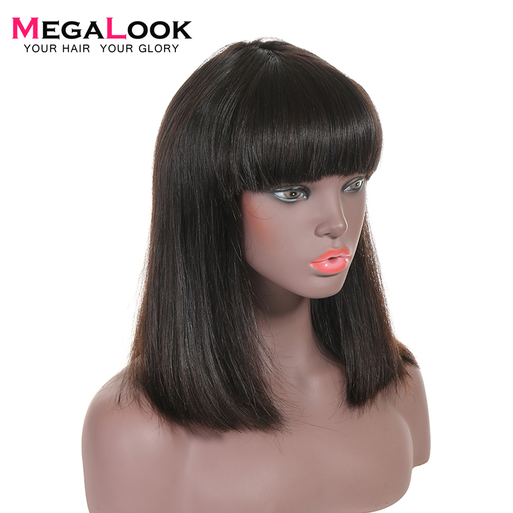 Bob Wig Brazilian Straight Short Human Hair Wigs With Bangs Pre Plucked Machine Weft Remy Human Hair Wig