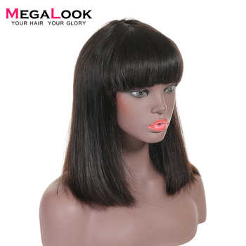 Bob Wig Brazilian Straight Short Human Hair Wigs with Bangs Pre Plucked Machine Weft Remy Human Hair Wig - DISCOUNT ITEM  49% OFF All Category