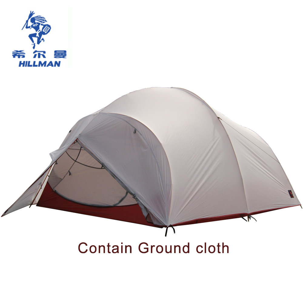 Hillman double layers tent aluminum pole outdoor tent ultra light coated silicon UL waterproof camping tent Contain ground cloth hillman 3 4 person double layer ultralight silicon tent 2d silicone coated nylon waterproof aluminum rod outdoor camping tent