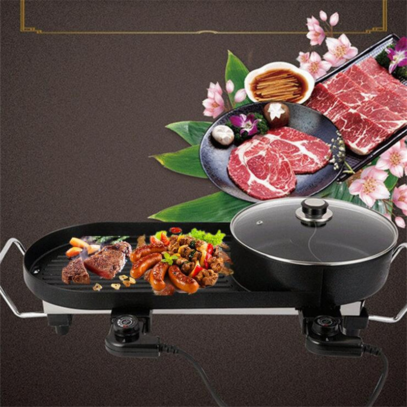 Smokeless Electric BBQ Grill Stove 5 Gear Temperature Adjustable For BBQ And Hotpot Home And Commercial Grill Machine 3 river country rc t34cc adjustable bbq grill smoker thermometer 50 to 550f