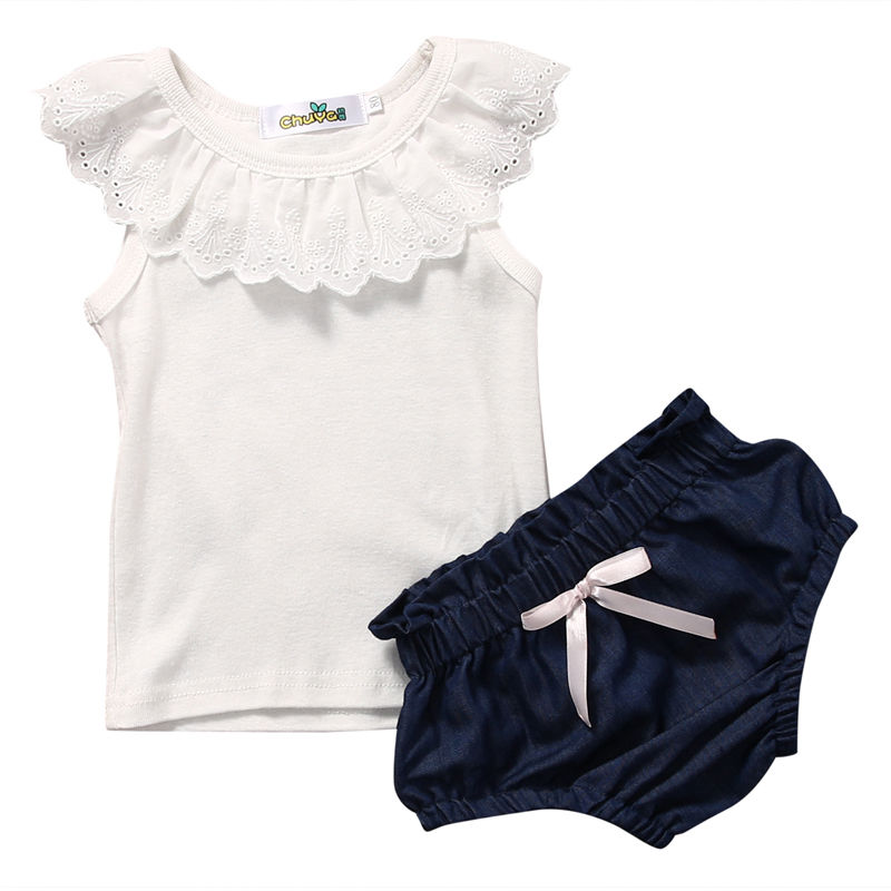 Baby Girls Lace Top T-shirt Denim Pants Bottoms Clothes 2PCS Newborn Toddler Baby Girl Clothing Set Outfits 2017 summer new children baby girl clothing denim set outfits short sleeve t shirt overalls skirt 2pcs set clothes baby girls