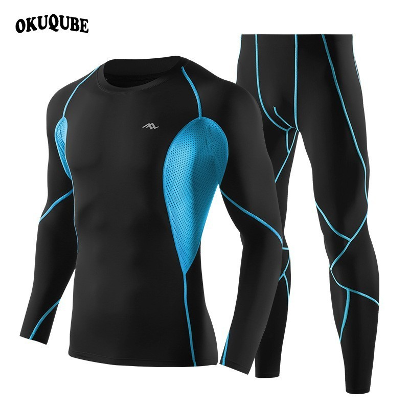 New Compression Sportswear Men Long Sleeve Fitness Clothing Winter Sports Suit Breathable Gym Clothing High Elastic Running Sets new winter yoga suit five piece female ms breathable coat of cultivate one s morality pants sports suits running fitness