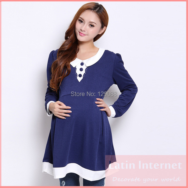 cfbe1087f6f Korean Maternity Dress Peter Pan Collar Princess Chiffon Dresses Clothes  For Pregnant Women Long Sleeve Casual Dress Pink Blue