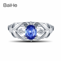 BAIHE Natural Sapphire Solid 18k White Gold Engagement Wedding Diamonds Ring Smart Fine Jewelry Gift Ring