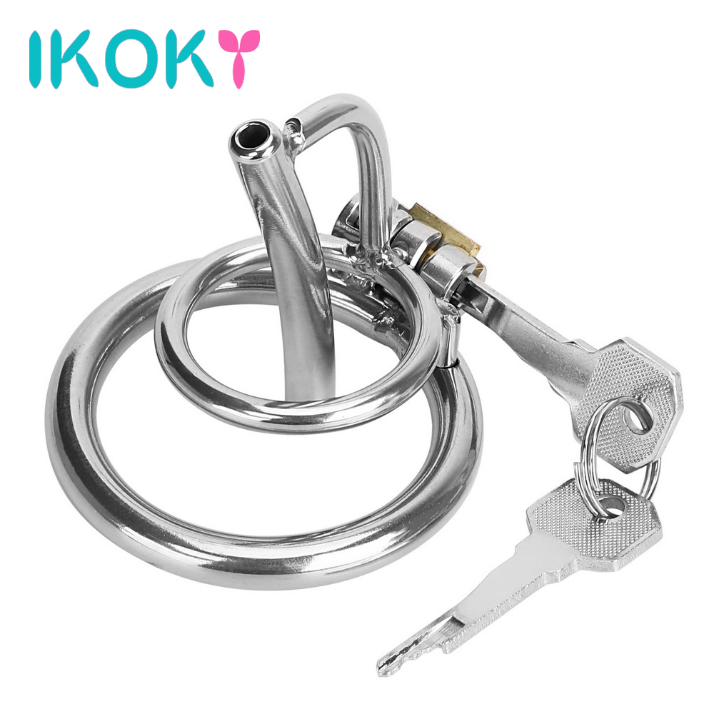 IKOKY Cock Lock Penis Cage With Catheter Male Chastity Device Stainless Steel Sex Toys For Men Penis Plug Adult Product Sex Shop steel male chastity device catheter cock cages men s virginity lock penis ring conjoined anal plug adult sex toys 5 size