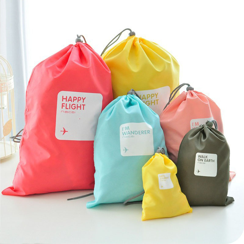 18SETS / LOT Fashion Drawstring Bag Travel Bag Large Capacity Bags Unisex Clothing Sorting Organize Bag Storage Pouch 4 Pcs Suit