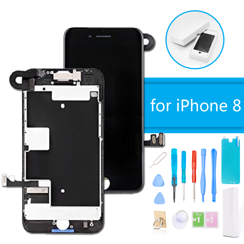 AAA+ Quality LCD Display Digitizer Full Assembly for iPhone 8 3D Touch Screen Replacement Without Home Button + Repair Tools