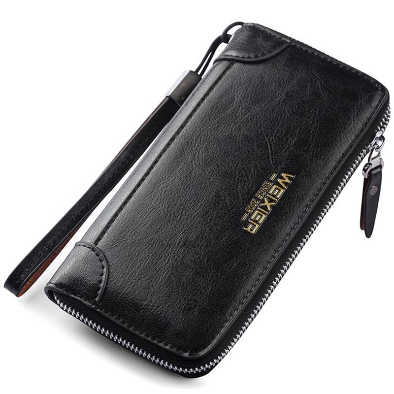 Cartera hombre LEINASEN Men Wallet with coin pocket zipper Double Zipper