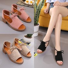 Kaguster women plataformas school Fashion Flock  mujer sandalias de verano Tied flat-heeled toe Lace-Up Rubber sandals